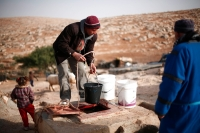 Drawing water from the cistern. Recent years have been extremely arid. Sha'eb el Buttom, January 2012. Photo: Tomer Appelbaum