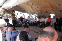 Elad presenting Comet-ME's work to a delegation of high level EU diplomats in Susya following the issuing of demolition orders, August 2012